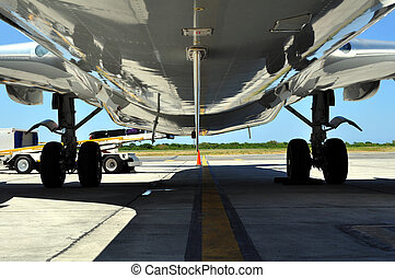 Airplane loading / offloading luggage - Jet airliner on the...