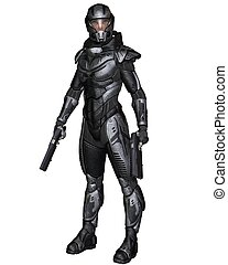 Female Scifi Soldier - Standing - Female futuristic science...