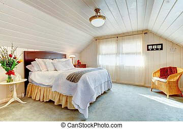 Great design idea for vaulted ceiling bedroom - Cozy bright...