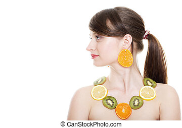 Healthy lifestyle - Young woman with fruits isolated -...