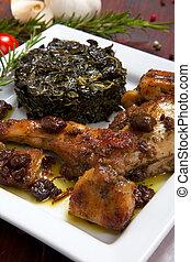 prato, legumes, ASSADO, coelho