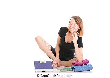 Caucasian young woman weight scale isolated white