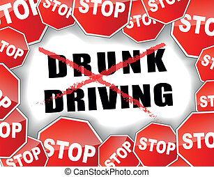 Stop drunk driving - vector and abstract illustration for...