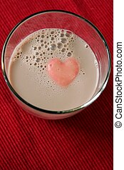 Glass of Chocolate Milk with Heart