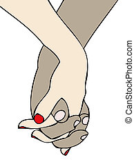 Hands clasped - The hands of a white woman are intertwined...