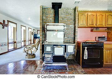 Great design idea for farmhouse kitchen room. Brick wall...