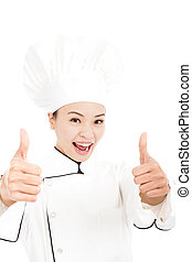 asian woman chef, cook or baker showing thumbs up