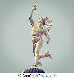 Mercury Statue - Roman God Mercury with retro style effect