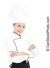 young beauty woman chef standing in studio