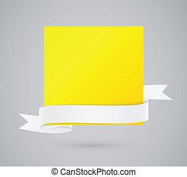 Abstract yellow card with ribbon