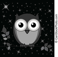 Night owl - Owl against a starry black night sky