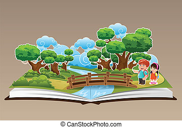 Pop Up Book with a Forest Theme - A vector illustration of...