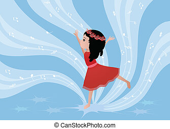 Dancing girl - Illustration of a girl dancing with musical...