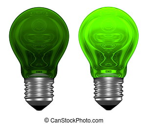 Green light bulbs with weird reflections isolated on white,...