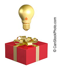 Golden light bulb above red box - Golden light bulb above...