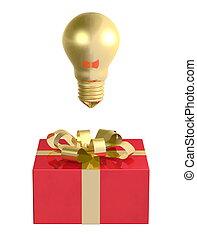 Golden light bulb above red box - Golden light bulb above...