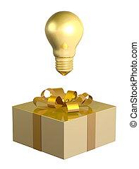 Golden light bulb above box - Golden light bulb above golden...