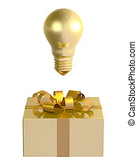 Golden light bulb above box - Golden light bulb above golden...