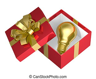 Golden light bulb in red box - Golden light bulb in red open...
