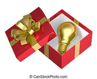 Golden light bulb in red box - Golden light bulb in red open...