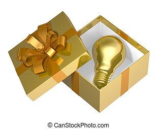 Golden light bulb in box - Golden light bulb in golden open...