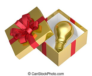 Golden light bulb in box, red bow - Golden light bulb in...