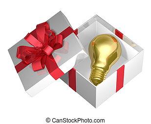 Golden light bulb in white box - Golden light bulb in white...