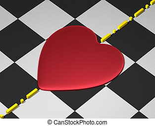 Heart, boundary on checkered - Red reflective heart on...