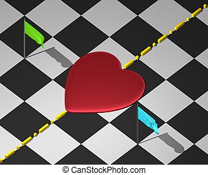 Heart, boundary, flags on checkered - Red reflective heart...
