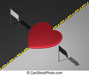 Heart between black and white areas - Red reflective heart...