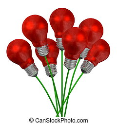 Bouquet of red light bulbs on green wires isolated on white...