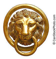 The door handle - the head of a lion Vector illustration