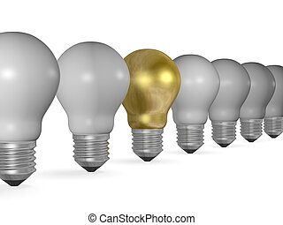 One golden light bulb in row of many grey ones isolated on...