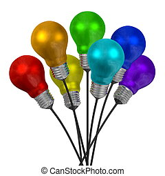 Bouquet of many-colored light bulbs on black wires isolated...
