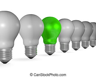 One green light bulb in row of many grey ones isolated on...