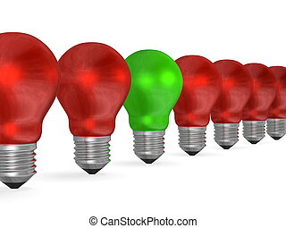 One green light bulb in row of many red ones isolated on...