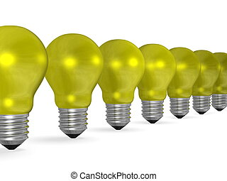 Row of yellow reflective light bulbs in perspective isolated...