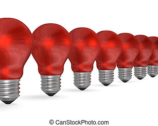 Row of red reflective light bulbs in perspective isolated on...