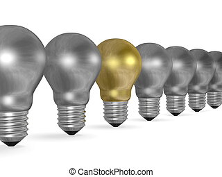 One golden light bulb in row of many silver ones isolated on...