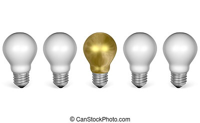One golden light bulb in row of white ones. Front view - One...