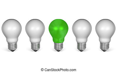 One green light bulb in row of white ones. Front view - One...