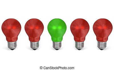 One green light bulb in row of red ones. Front view - One...