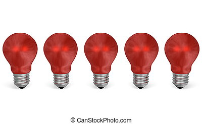 Row of red reflective light bulbs. Front view - Row of red...