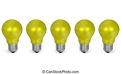 Row of yellow reflective light bulbs. Front view - Row of...