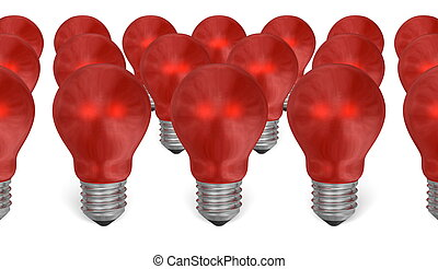 Group of red reflective light bulbs isolated on white...