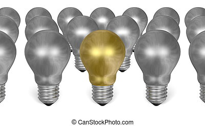 One golden light bulb among many silver ones