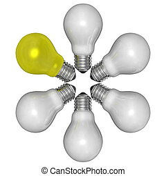 Yellow light bulb and white ones arranged in radial pattern...
