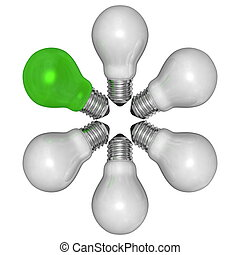 Green light bulb and white ones arranged in radial pattern...