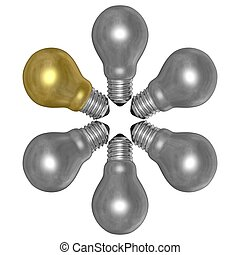 Golden light bulb and silver ones arranged in radial pattern...