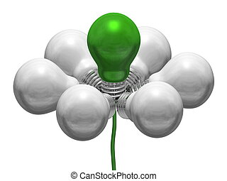 Flower of white and green light bulbs on green wire isolated...